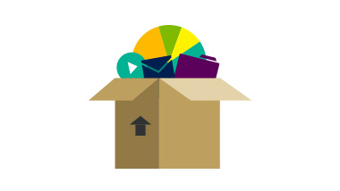 Illustration of box with items coming out