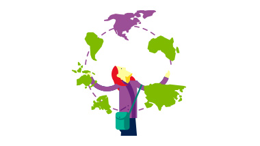 Illustration of woman juggling countries