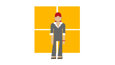 Illustration of woman in front of orange squares