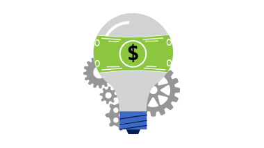 Illustration of light bulb with dollar sign