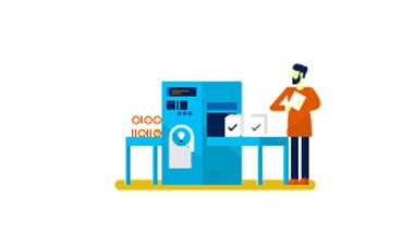 Illustration of man at machine