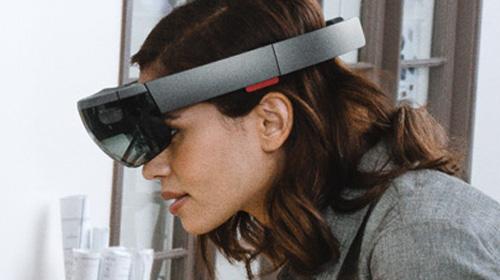 Woman with virtual reality visor