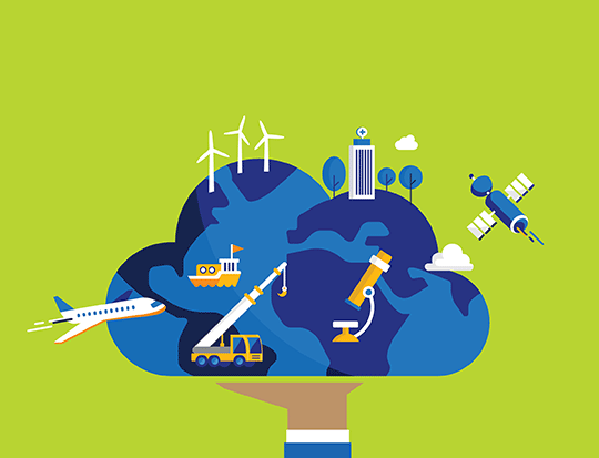 illustration of hand holding cloud, planes and building emerging from cloud