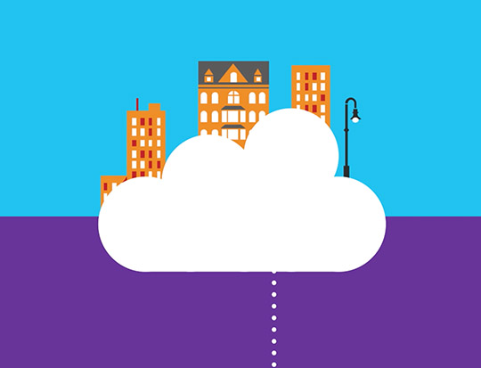 Cloud with buildings