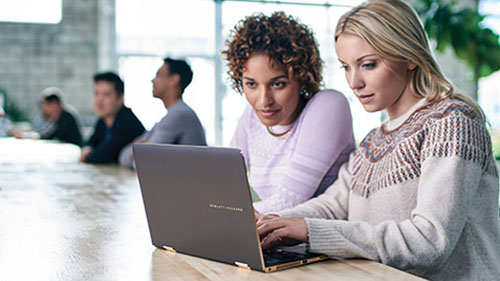 Two women looking at laptop on table