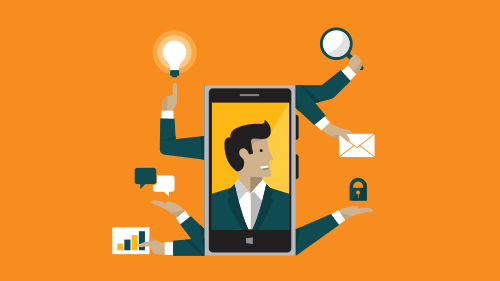 Illustration of cell phone showing image of man, 6 arms coming out of phone