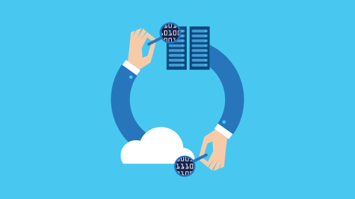 Illustration of two arms making circle, arms holding cloud and bill sheet