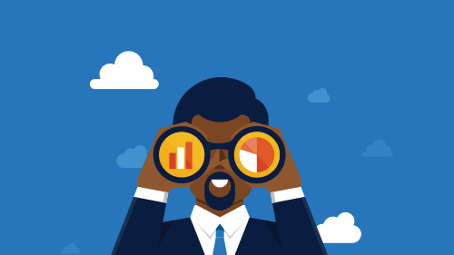 animation of business man looking through binoculars