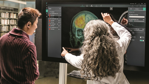 Doctor and student reviewing brain scan