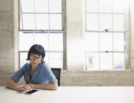 A woman using Microsoft Dynamics