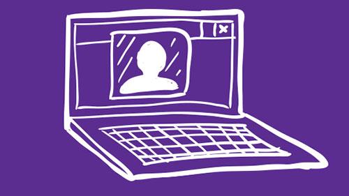 Purple illustration of a laptop