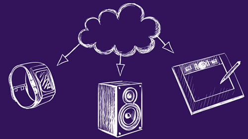Purple illustration of a cloud connecting to different devices