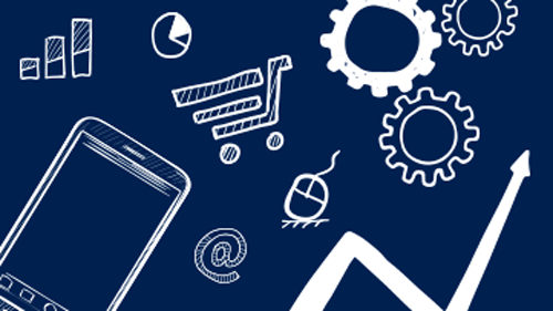 Animation of phone, gears, and shopping cart