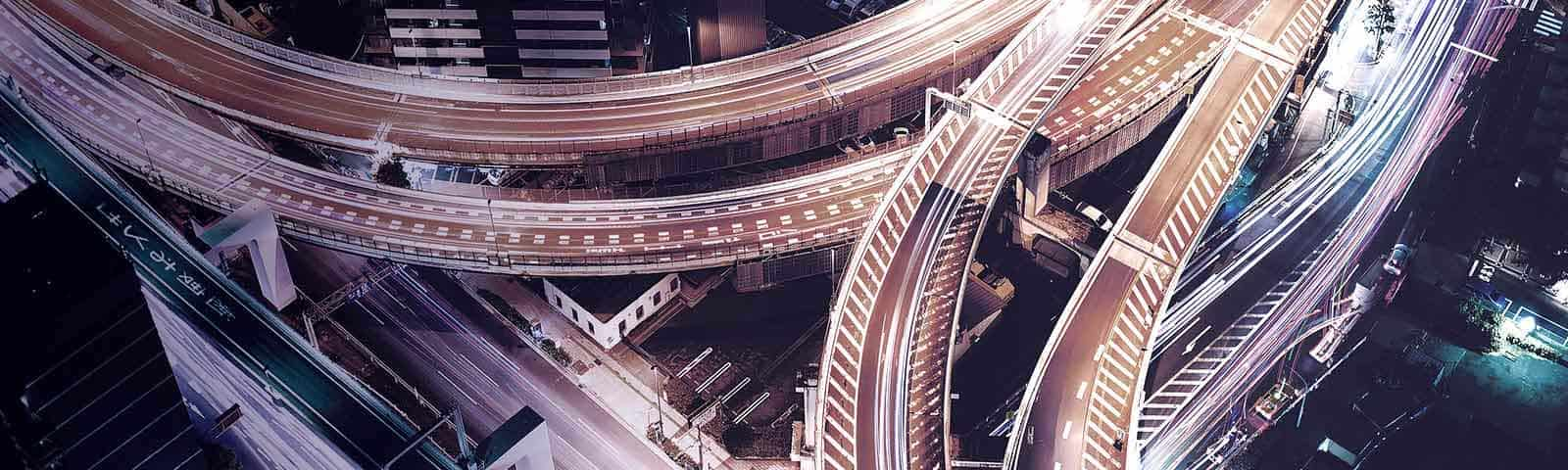 Overhead shot of a highway interchange