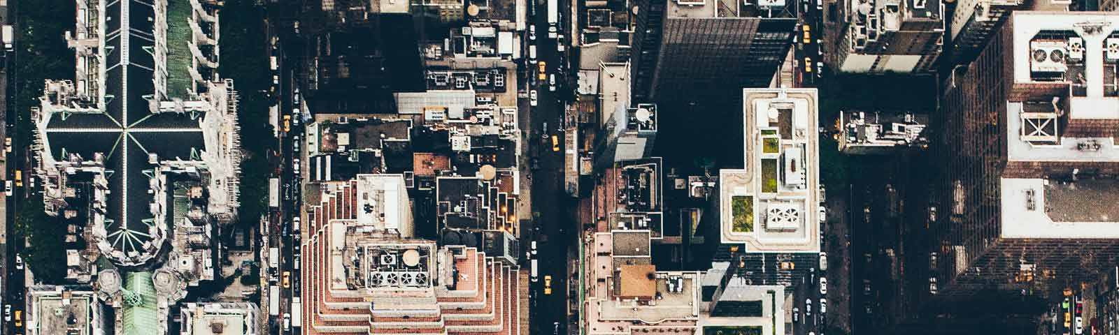 Overhead shot of an urban city area