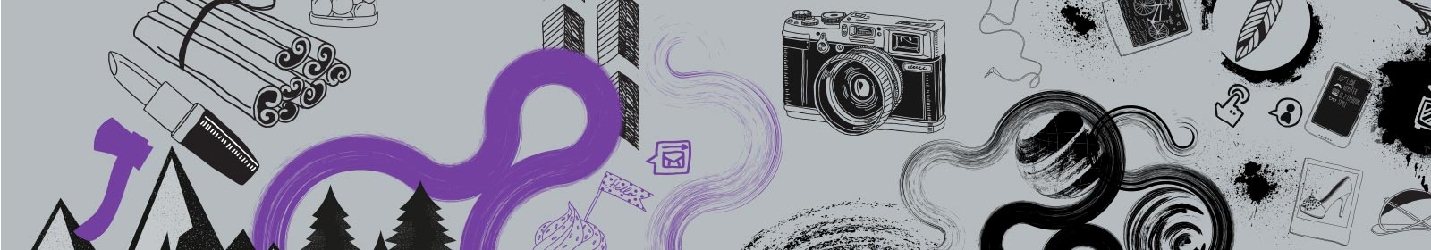 illustration with grey background and purple and black drawings