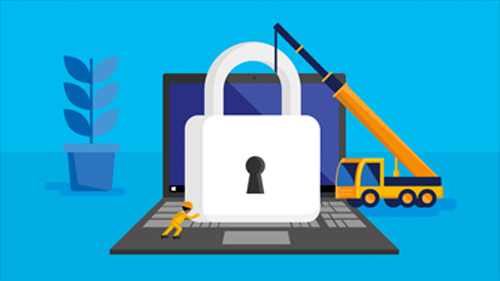 Illustration of a crane and man lowering a lock onto a laptop