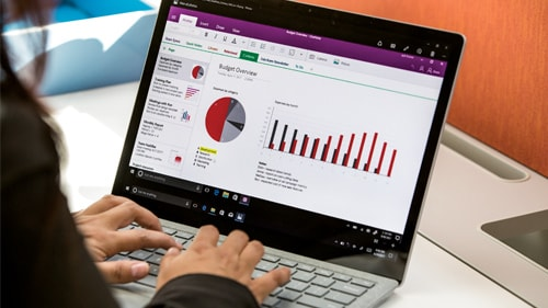 Image of laptop with graphs and charts on screen