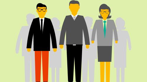 Three illustrated people standing
