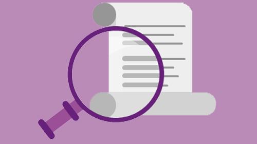Illustrazione di un documento con una lente di ingrandimento