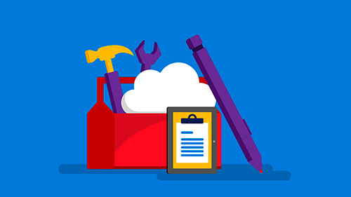 Illustration of toolbox featuring a cloud