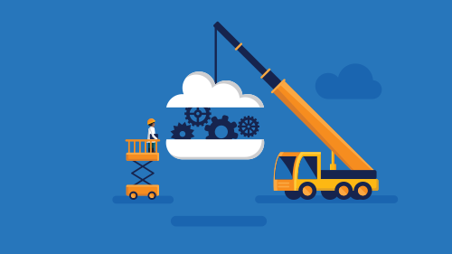 Illustration of crane carrying cloud with gears
