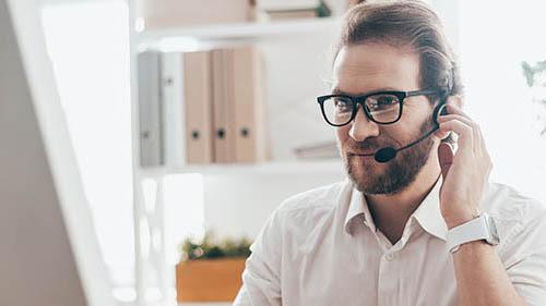 Man talking on headset