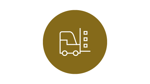Fork lift truck icon on gold