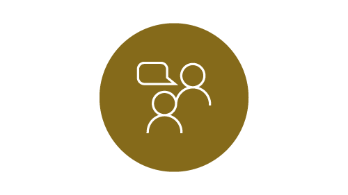 Conversation icon on gold