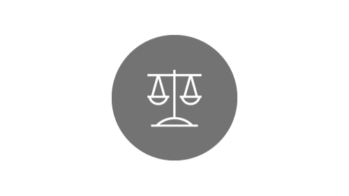 Balanced scales icon on silver