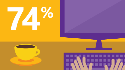 Illustration of hands at a computer with a cup of coffee