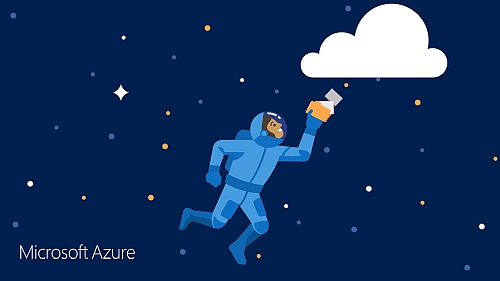 Illustration of person in space touching a cloud