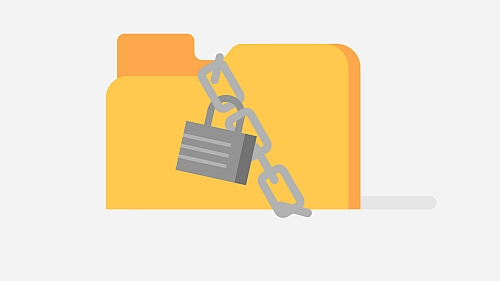 Illustration of file folder locked by chain