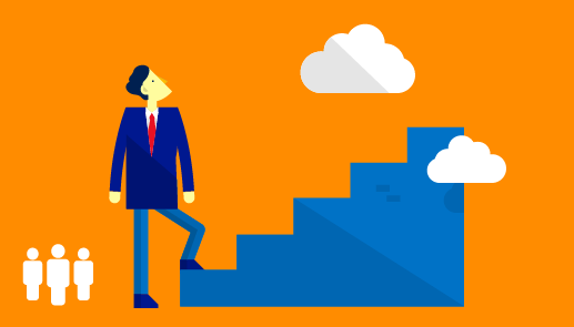 Man about to climb stairs to clouds