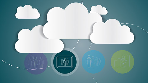 Illustration of clouds with apps underneath