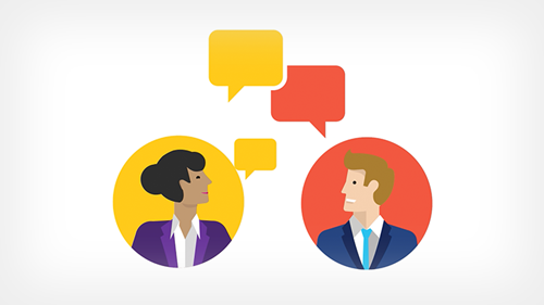 Illustration of two business people talking
