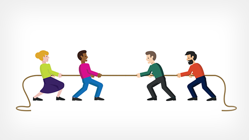 Illustration of four people pulling a rope in separate directions
