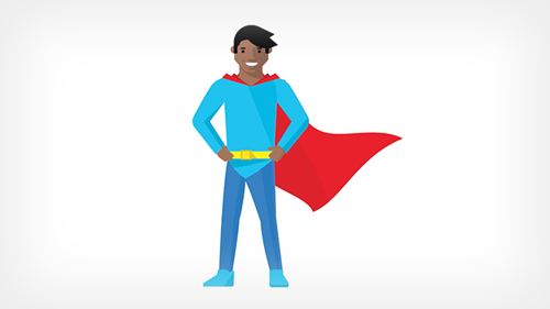 Illustration of super hero wearing a cape