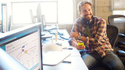 A man works with Microsoft biztalk server