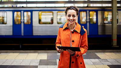 A woman uses Microsoft CityNext