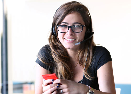 Woman on a headset.