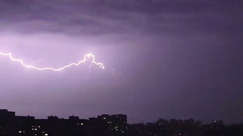 Landscape photo of lightning in the sky