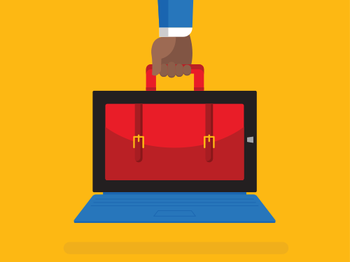 Illustration of an arm holding a surface tablet that also serves as briefcase