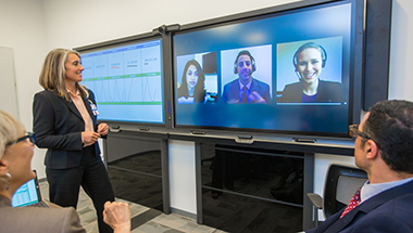 People connect on a Surface hub