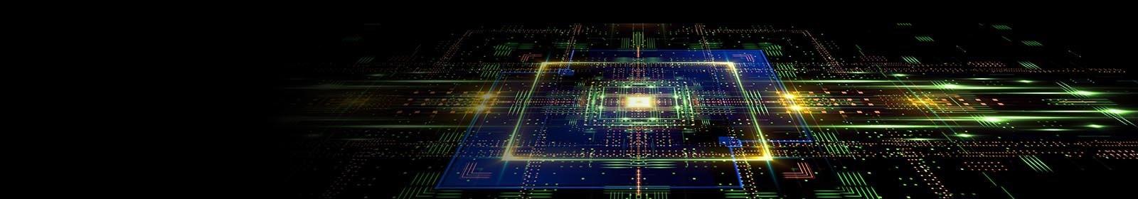 Image of a glowing circuit board