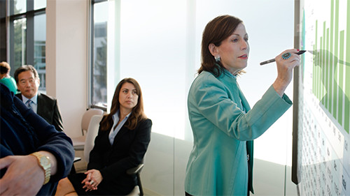 Woman leading meeting with Surface hub