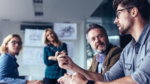 Man speaking in team collaboration