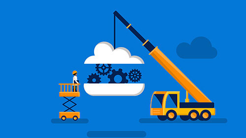 Illustration of crane carrying cloud with gears inside