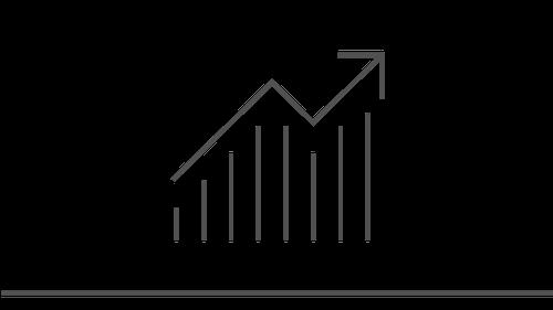 Illustration of an upward trending line graph