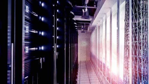 Image of a server room corridor